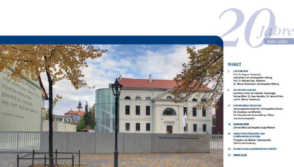 20 Jahre_HomöopathieStiftung_Festschrift